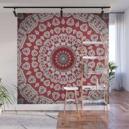 Red White Bohemian Mandala Design Wall Mural