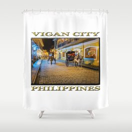 Vigan City, Philippines (poster edition) Shower Curtain