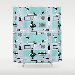 Art Deco Swimmers Shower Curtain