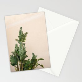 Tropical palms on pastel | Lush greenery in the South of France | Botanical art print Stationery Cards