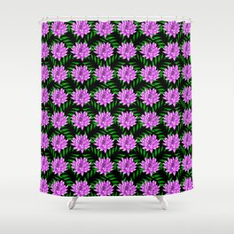 Pink pretty blooming lily flowers and green leaves black floral pattern design Shower Curtain
