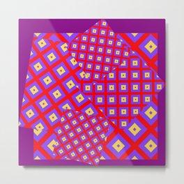 RED PURPLE CREAM MODERN SQUARES ART Metal Print