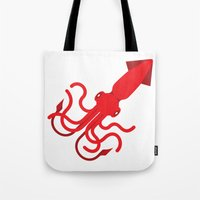 squid Tote Bags featuring Squid by AlanDalby