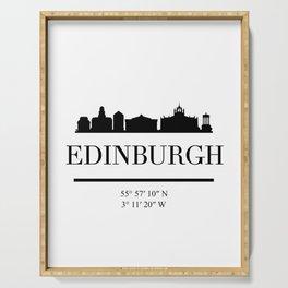 EDINBURGH SCOTLAND BLACK SILHOUETTE SKYLINE ART Serving Tray