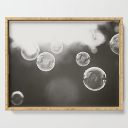 Bubble Photography, Black and White Bathroom Art, Laundry Room Photo Serving Tray