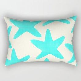 Aqua Starfish Pattern on Pale Yellow Rectangular Pillow