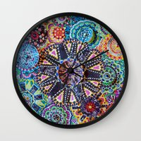 rave Wall Clocks featuring Rave by Emilie Darlington