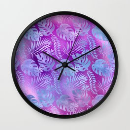Iridescent Tropical Leaves in Aqua and Purple-Pink Colors Wall Clock