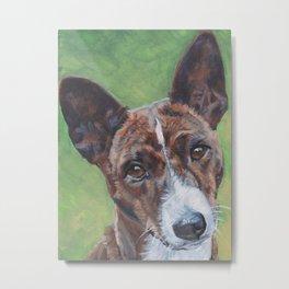 beautiful Basenji dog portrait art painting by L.A.Shepard Metal Print
