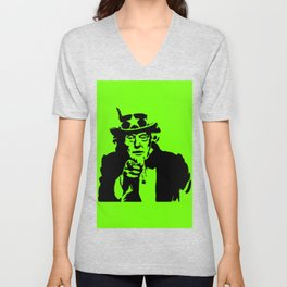 Neon Green Uncle Trump Needs You Unisex V-Neck