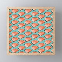 Salmon Fish Fillet Fiesta, Seafood on Teal Framed Mini Art Print
