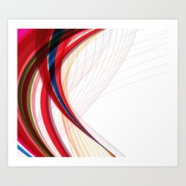 RED, BLUE AND GREEN CURVED LINES Abstract Art Art Print