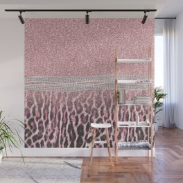 Chic Girly Pink Leopard animal print Glitter Image Wall Mural