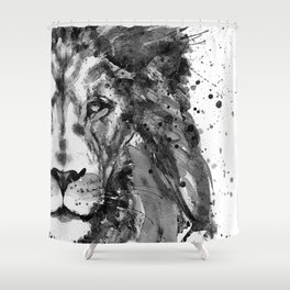 Black And White Half Faced Lion Shower Curtain