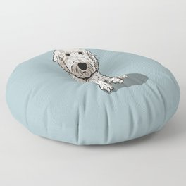Labradoodle Illustration Blue Background Floor Pillow