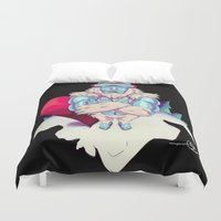 snowboard Duvet Covers featuring Snowboard Yeti [black background] by garciarts