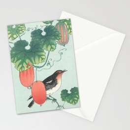 Songbird in cucumber plant by by Ohara Koson Stationery Cards
