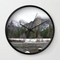 yosemite Wall Clocks featuring Yosemite by Lydia Gifford