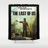 last of us Shower Curtains featuring The Last of Us Joel Action Figure by fardeen