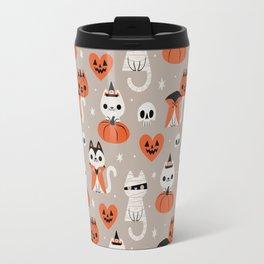 Halloween Kitties (Gray) Travel Mug