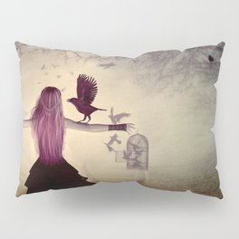 Dark foggy scene with witch woman with crows Pillow Sham