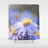biology Shower Curtains featuring Blue Aster in LOVE I by UtArt