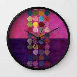 purple painterly dots Wall Clock