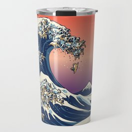 The Great Wave of Pugs / Square Travel Mug