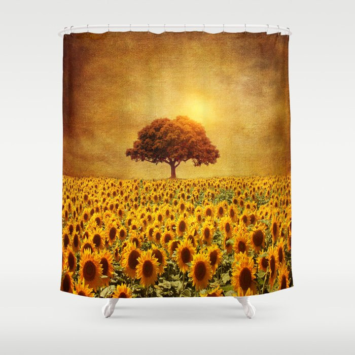 lone tree & sunflowers field (II) Shower Curtain