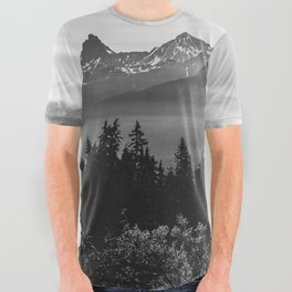 Morning in the Mountains Black and White All Over Graphic Tee