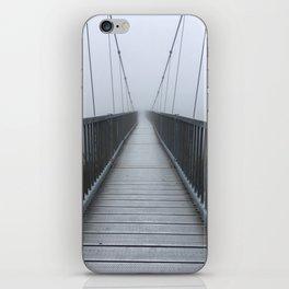 The Swinging Bridge in Fog on a Mountain iPhone Skin