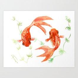 Koi Fish, Feng Shui, Goldfish art, Two fish, Art Print