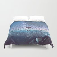 sacred geometry Duvet Covers featuring Sacred Geometry Universe 7 by Gaudy