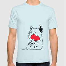 Frenchie Heart 2X-LARGE Mens Fitted Tee Light Blue