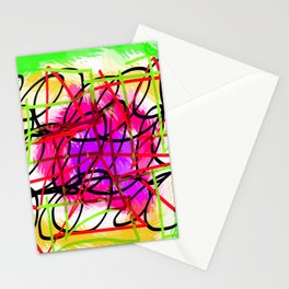 square triangle and circle shape with yellow green blue and pink background Stationery Cards