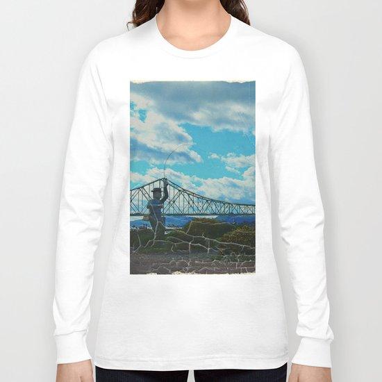 Aged Angler and Fish at the Campelton Bridge Long Sleeve T-shirt