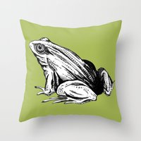 frog Throw Pillows featuring Frog by Aubree Eisenwinter