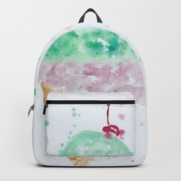 Icecream Summer love Cherry illustration ice cream cone watercolor Backpack
