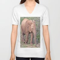 baby elephant V-neck T-shirts featuring Baby Elephant by Lynn Bolt