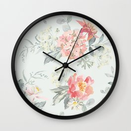 Bouquets of pink flowers and pearly gray leaves Wall Clock