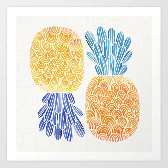 BFFs / Pineapple Watercolor Collage Art Print