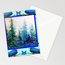BLUE BUTTERFLIES BLUE BIRDS BLUE FOREST ART Stationery Cards