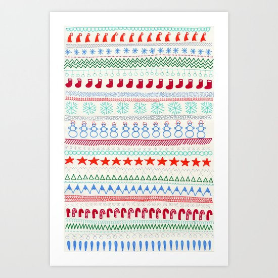 Christmas Doodles Art Print