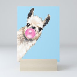 Bubble Gum Sneaky Llama in Blue Mini Art Print