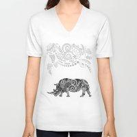 rhino V-neck T-shirts featuring Rhino by famenxt
