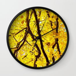 Fall Branches, Golden Yellow Linden Tree Wall Clock