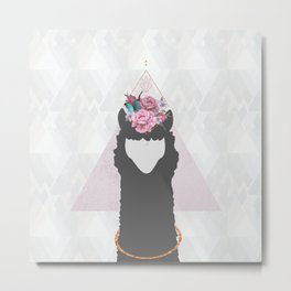 The Holy Llama Floral Geometric (white) Metal Print
