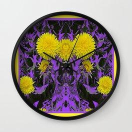 Decorative Purple-Black Yellow Dandelion Abstract Art. Wall Clock