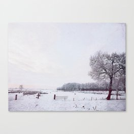 Winter landscape in the Netherlands - Digital Art Canvas Print