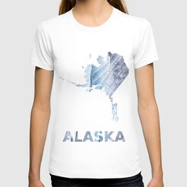 Alaska map outline Light steel blue clouded wash drawing T-shirt